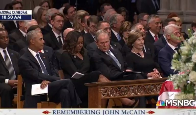 Michelle Obama And George W. Bush Caught Sharing Awesome Moment At McCain Memorial; This Is What Bipartisanship Looks Like