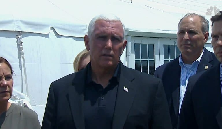 """Mike Pence Stares Blankly At Migrants In Overcrowded Cages As They Yell """"No Shower, No Shower!"""" While Touring Detention Facility"""