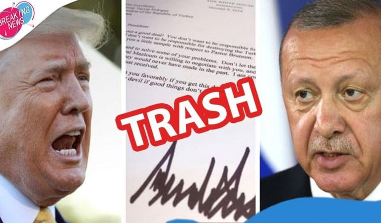 Turkish Government Official Claims President Of Turkey Threw Trump's Letter In The Trash