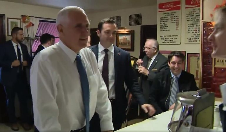 As Sondland Was Giving Testimony That Threw Pence Under The Bus, VP Was Seen Visiting A BBQ Restaurant Where He Looked Somewhat Uncomfortable