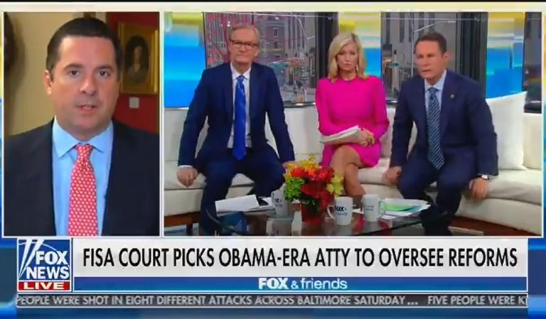 Watch Devin Nunes Appear To Lose His Cool On Fox & Friends After FISA Court Picks Obama Admin Lawyer Who's Been Highly Critical Of Him To Oversee Reforms