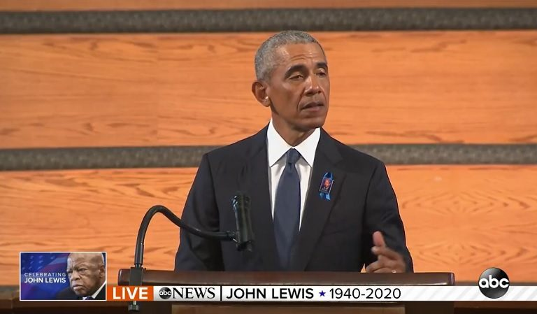 Obama Just Called Out Trump During John Lewis' Eulogy And Got A Standing Ovation For It