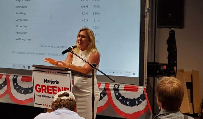 Majorie Taylor Greene Appears To Mockingly Impersonate Alexandria Ocasio-Cortez During A Rally