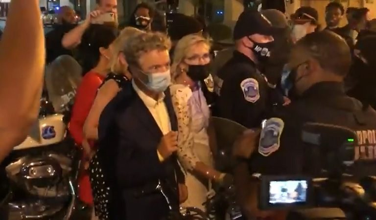 """Rand Paul Claims He And His Wife Were """"Attacked By An Angry Mob"""" After Trump Speech, But Video Seems To Show Otherwise"""