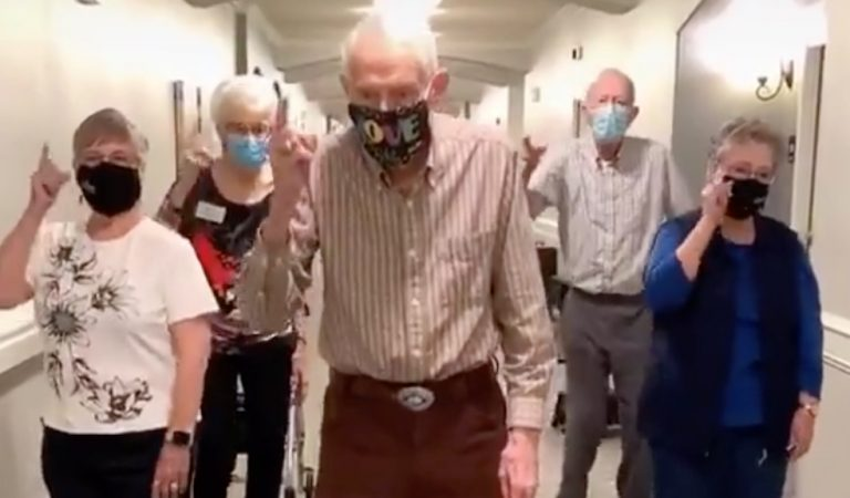 "Americans Horrified As Trump Shares Video Of Seniors Ripping Off Their Face Masks To The Song ""We're Not Gonna Take It"""