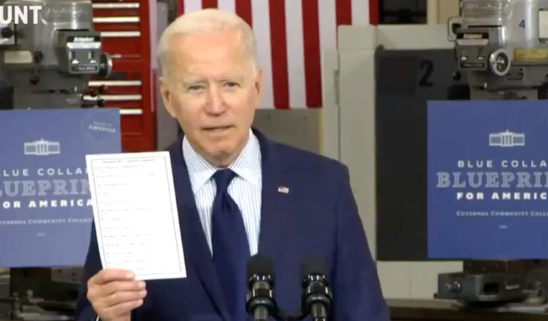 """Watch President Biden Publicly Pull Out List Of Hypocritical Republicans: """"Some People Have No Shame"""""""